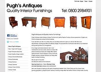 Pugh's Antiques - E-commerce website